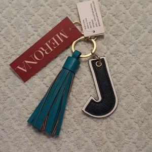 Merona Initial Keychain Black J with Blue Tassel